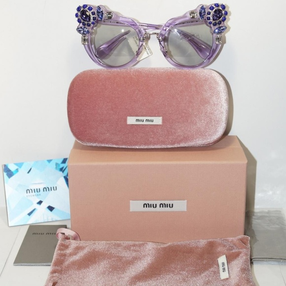 00d4533aefb MIU MIU CAT EYE CRYSTAL LILAC SUNGLASSES